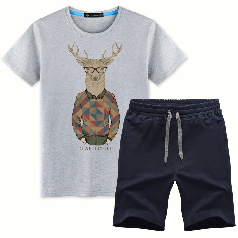 Yu zhaolin hipsters deer t-shirt shorts suit social boy five pants loose pants casual sports summer