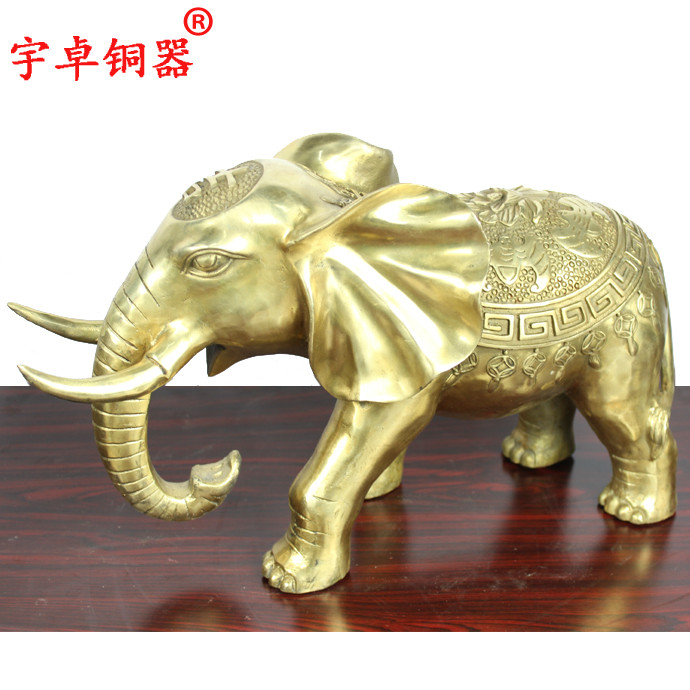 Yu zhuo brassware one pair copper copper auspicious elephant elephant absorbent like opening gifts ornaments like copper