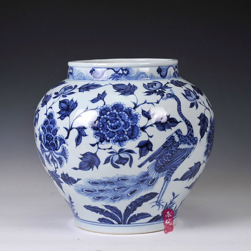 Yuan blue and white porcelain peacock and peony jingdezhen ceramic imitation of the grain storage tank ornaments home living room decoration craft