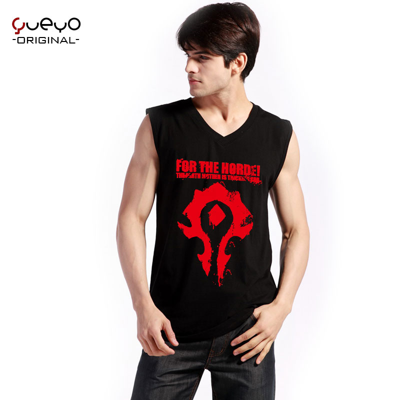 Yueyo/wow world of warcraft clothes wyatt tour summer men undershirt vest sleeveless t-shirt-horde alliance