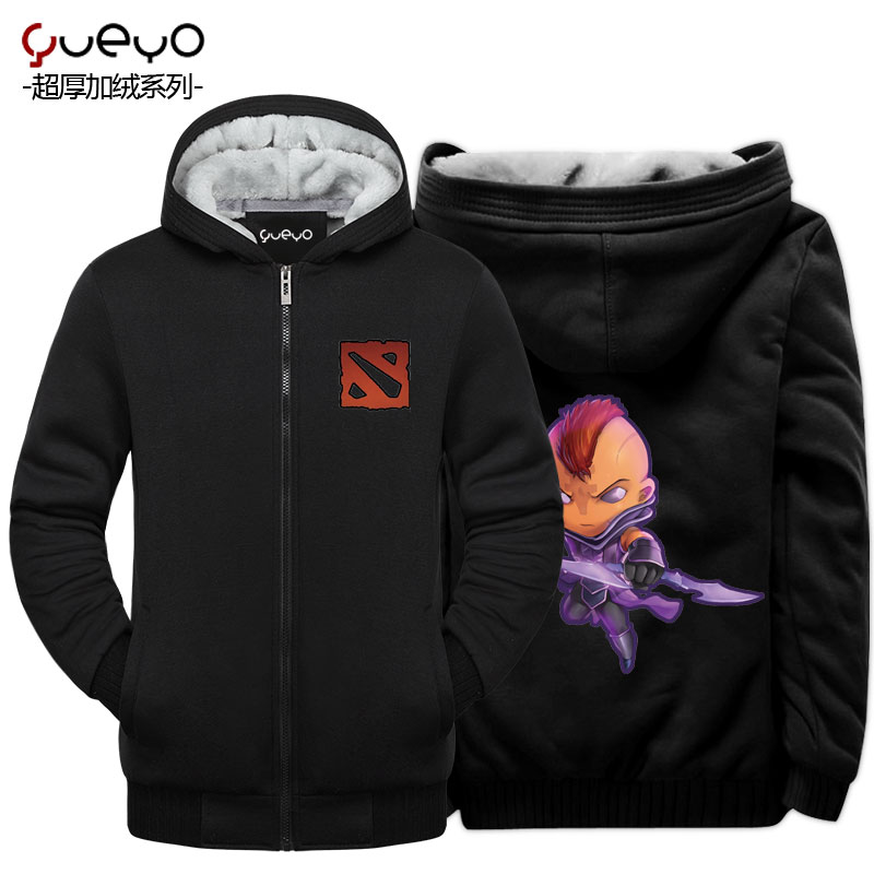 Yueyo/wyatt tour men's winter korean tidal plus thick velvet hooded sweater coat male-dota2 antimage