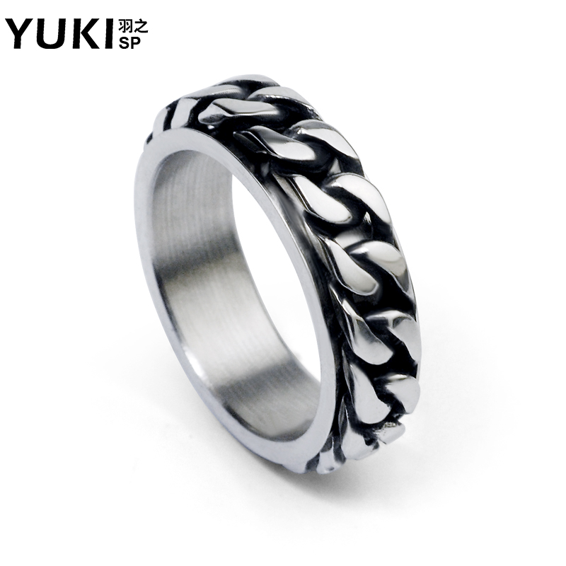 Yuki men's jewelry korean version of the retro domineering transport futuroic personality titanium steel ring tail ring couple ring
