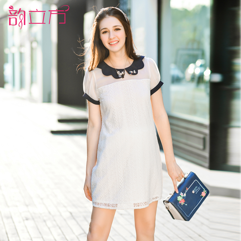 Yun cubic maternity korean summer 2016 new lace short sleeve maternity dress pregnant women fashion summer dresses for pregnant women