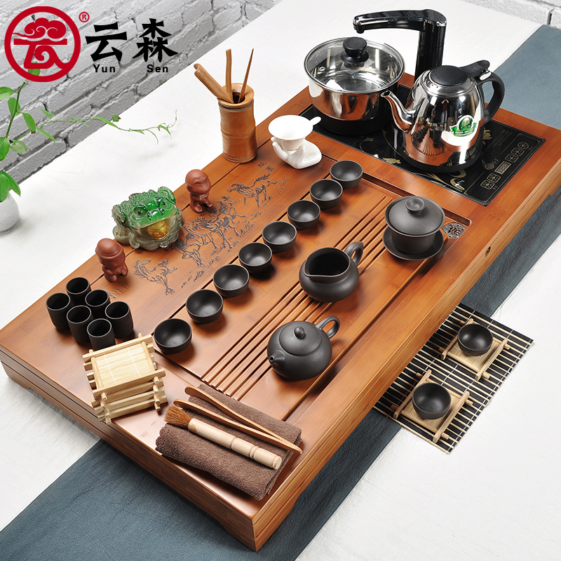 Yunsen tea set special package tea set four purple kung fu tea bamboo tea tray electric furnace