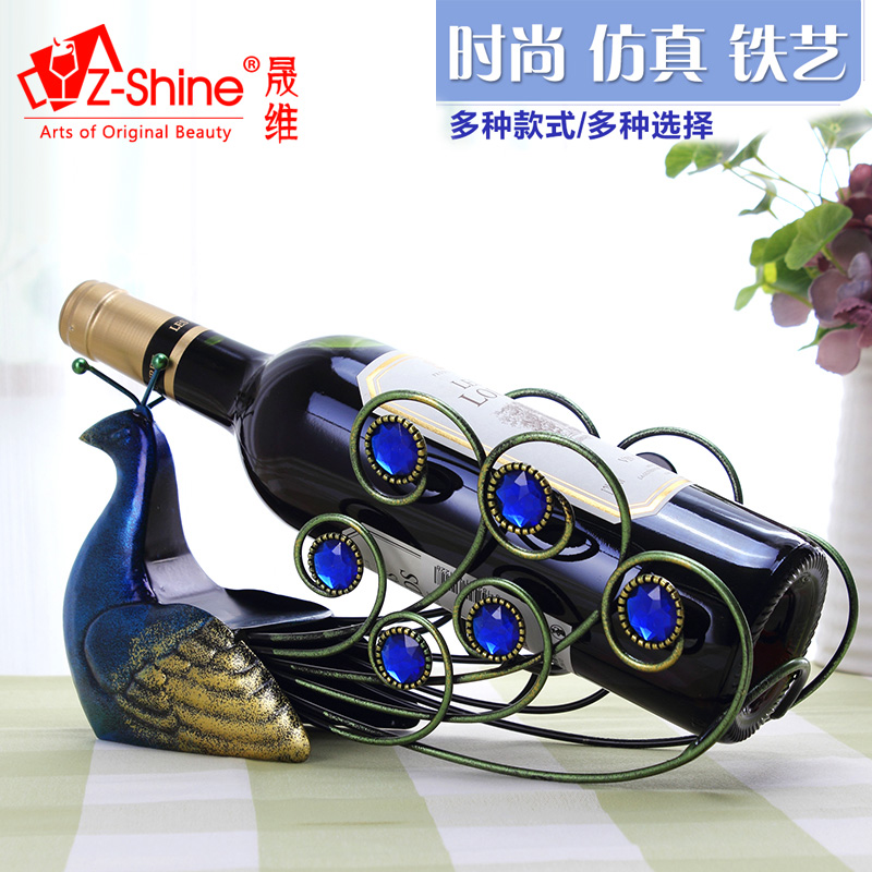 Z-shine creative vintage wrought iron wine furnishings living room ornaments european wine rack wine rack fashion