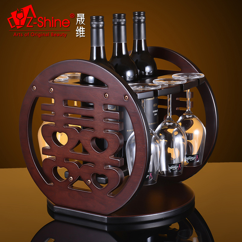 Z-shine sheng dimentional wooden shipping double celebration wine rack wine goblet rack home decoration gift ornaments