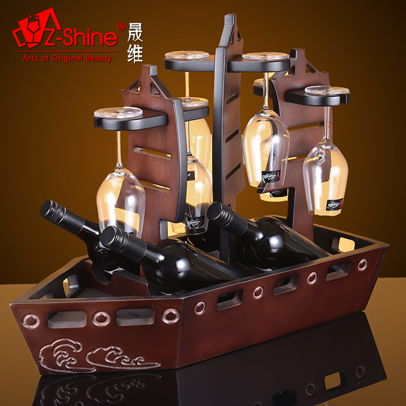 Z-shine sheng dimentional woodiness retro creative wine rack bottle rack wine rack wine rack cup holder ornaments living room wine cabinet