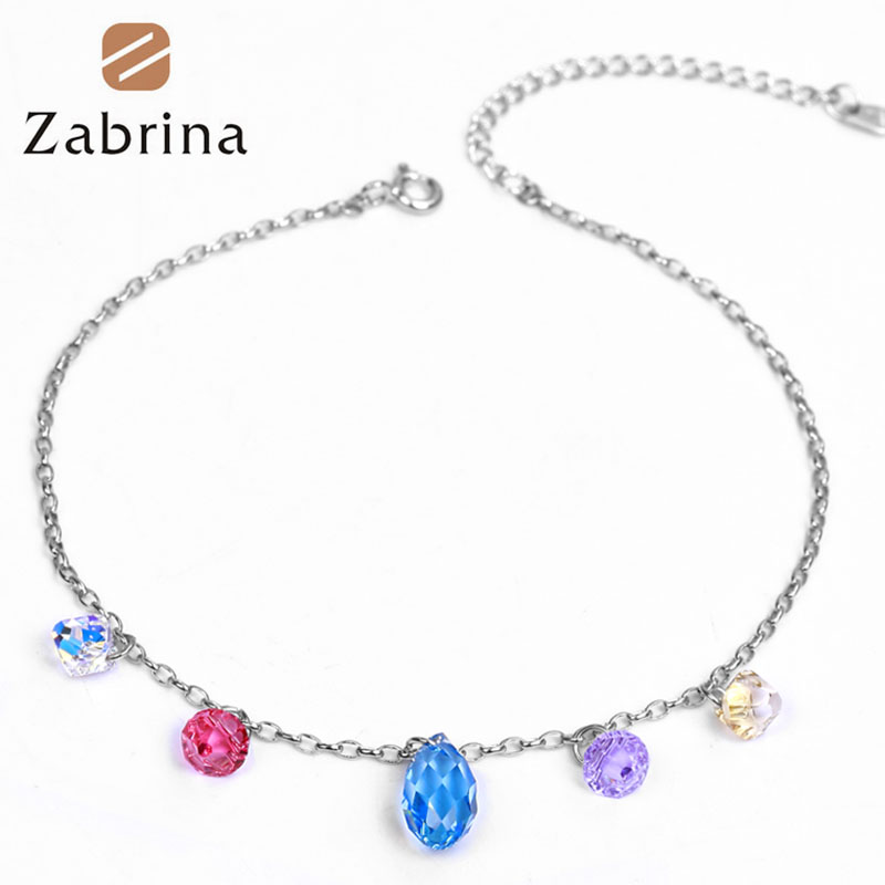 Zabrina summer colorful austrian crystal droplets 925 silver anklets female korean fashion foot chain girlfriends gift