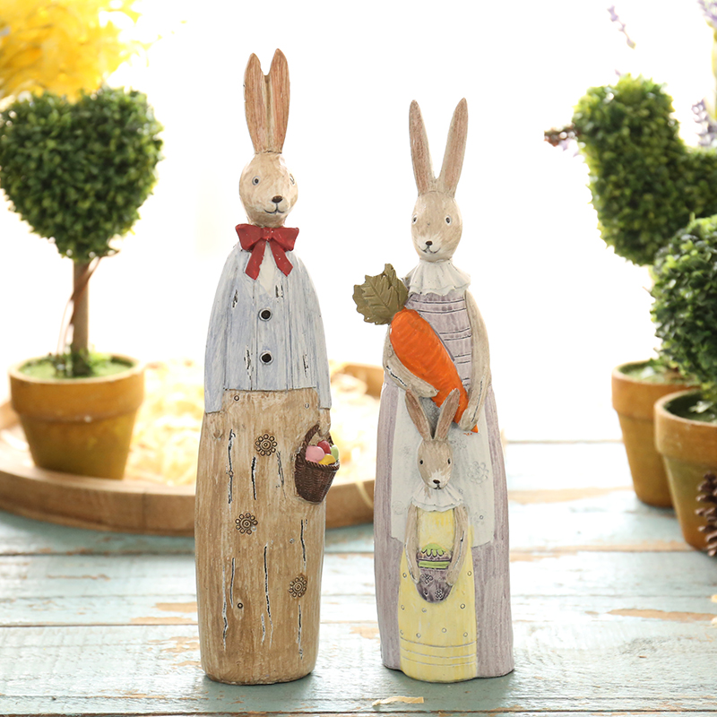 Zakka american creative resin rabbit decoration bedroom living room tv cabinet bookcase swing set soft home decorations