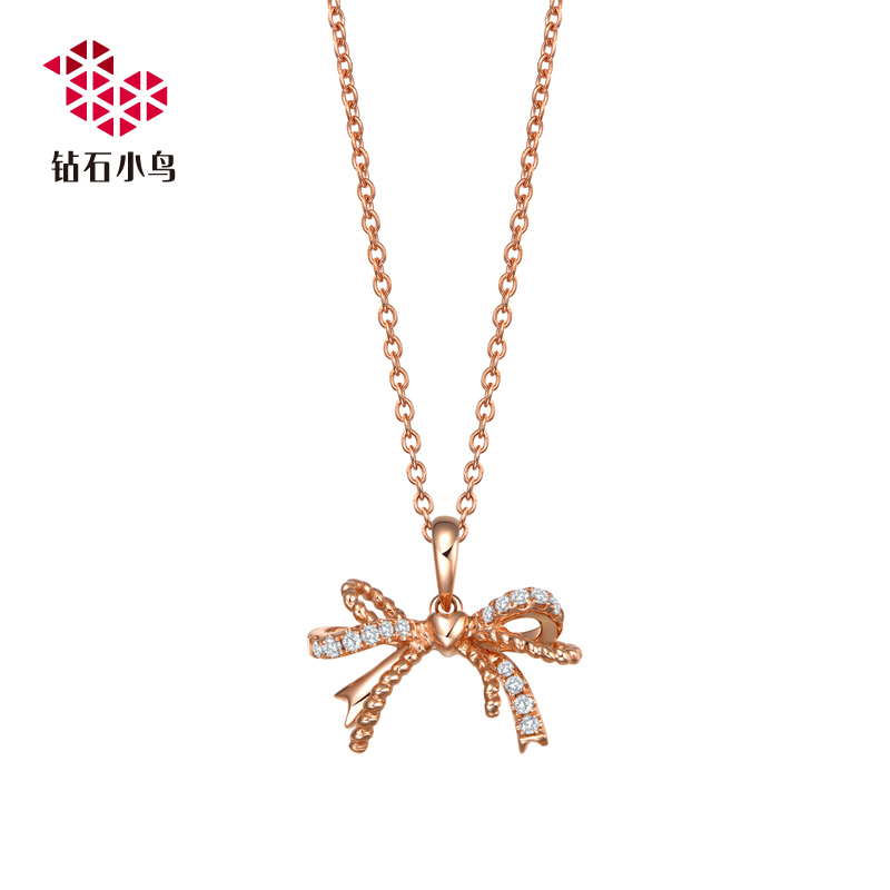 Zbird/diamond bird-k gold diamond pendant diamond pendant pendant pendant-lover knot-free chain Genuine authentic
