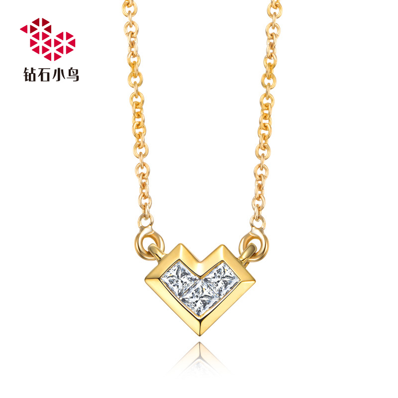 Zbird/diamond bird-k gold diamond pendant necklace-rubik's magic mirror-princess diamond stone pendant Chain
