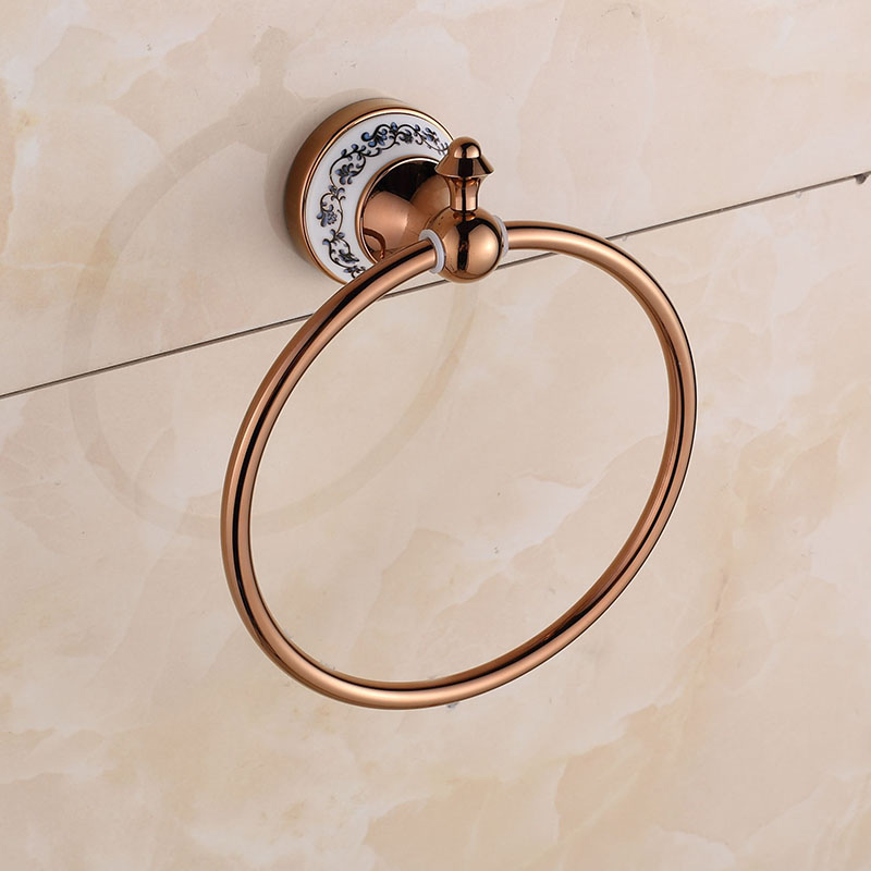 Ze faction retro copper bathroom towel ring towel rack metal pendant hanging towel rack towel rack full of european health bath rose gold