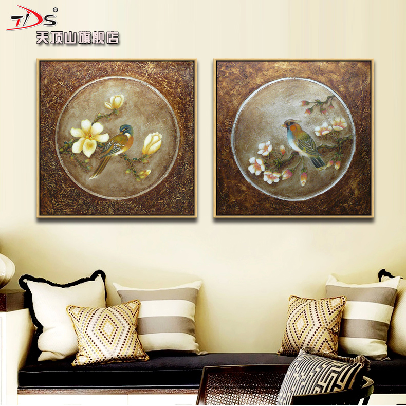 Zenith mountain biconnectivity restaurant decorative painting new chinese minimalist living room mural paintings painting teahouse chinese bird and flower
