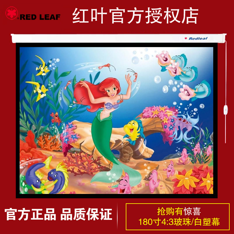 Zhangjiagang hongye hot 4:3 leaves 100-inch projection screen electric bead 180 inch 180 inch projection screen electric screen