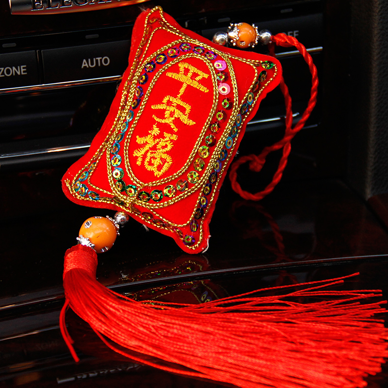 Zhe xi shun car pendant chinese style red tassel car linked to natural taste of wormwood sachet sachet word blessing of peace