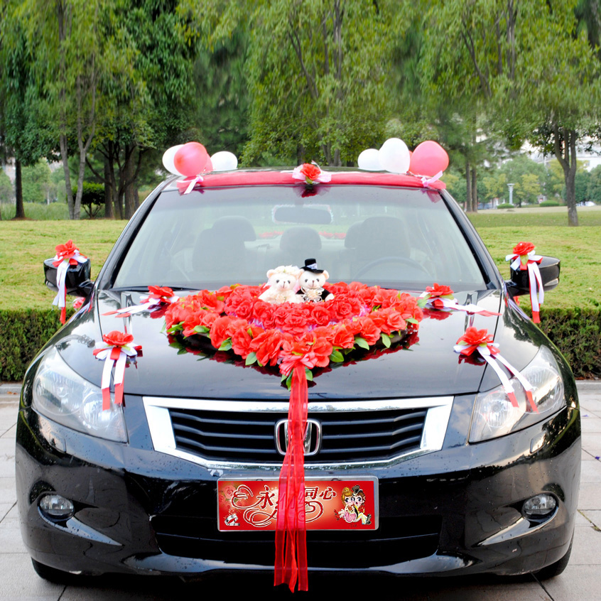 Zhe xi shun wedding korean wedding supplies cartoon bride wedding car decorated floats suit front flower samelitter