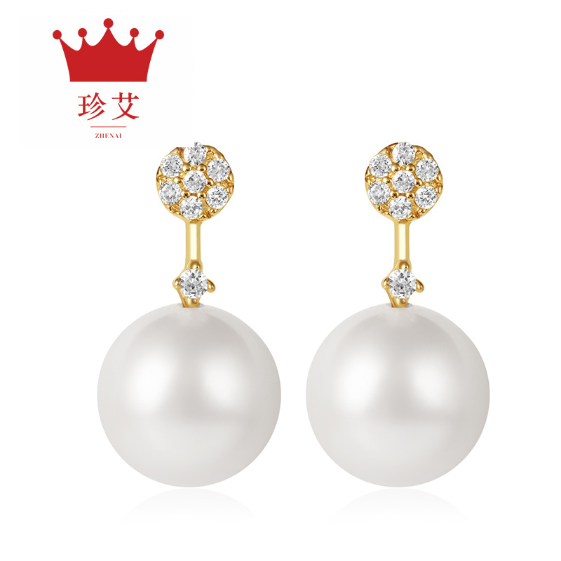 Zhen ai k gold inlay diamond white pearl earrings earrings ladies fashion earrings earrings to send his girlfriend the sf