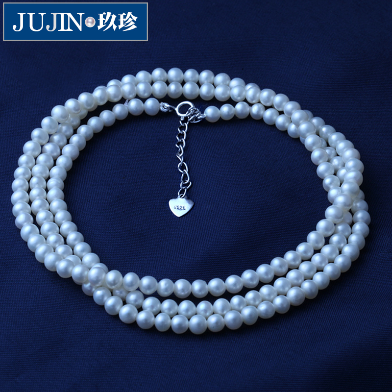 Zhen jiu genuine natural freshwater pearl necklace multilayer handmade dress with married yarn long section of the clavicle chain female