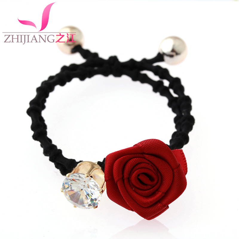 Zhijiang rose flower headdress hair accessories hair ring hair rope korea ponytail hair accessories hair rope tousheng high elastic rubber band leather reinforced