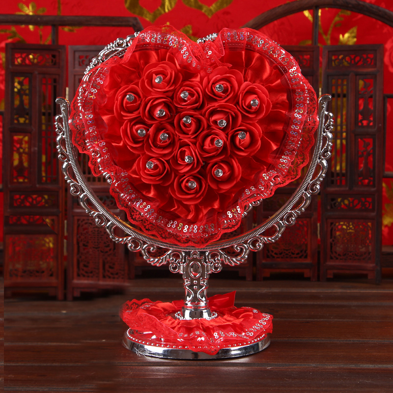 Zhixin jacuzzi roses wedding supplies wedding supplies festive chinese dressing mirror glass mirror mirror evil