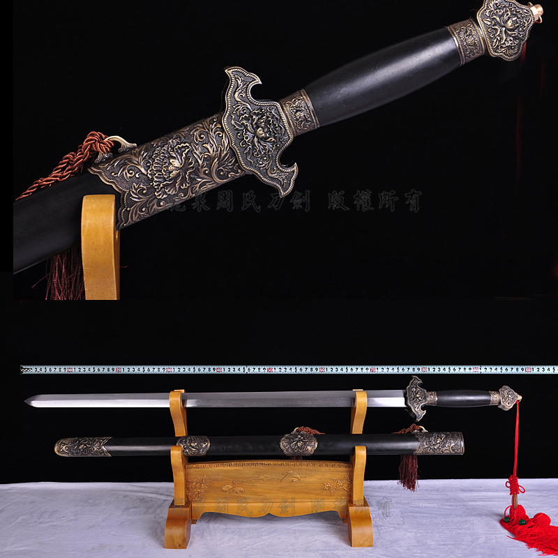 Zhou zhou's wealth of longquan sword pattern steel sword longquan sword longquan sword high hardness flower pattern steel sword is not open edge