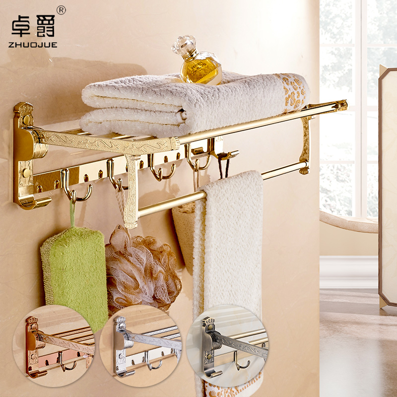 Zhuo jazz gold towel rack towel rack bathroom shelf bathroom shelves rose gold embossed home