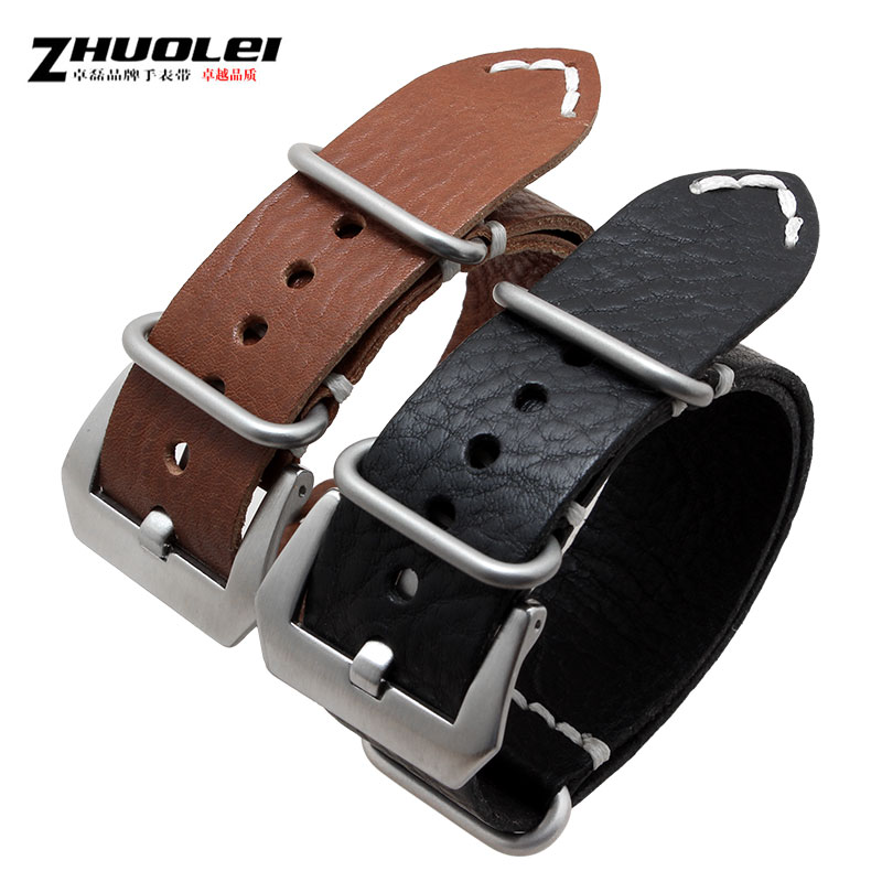 Zhuo lei leather strap handmade belt male table 24mm applicable panerai breitling | black brown