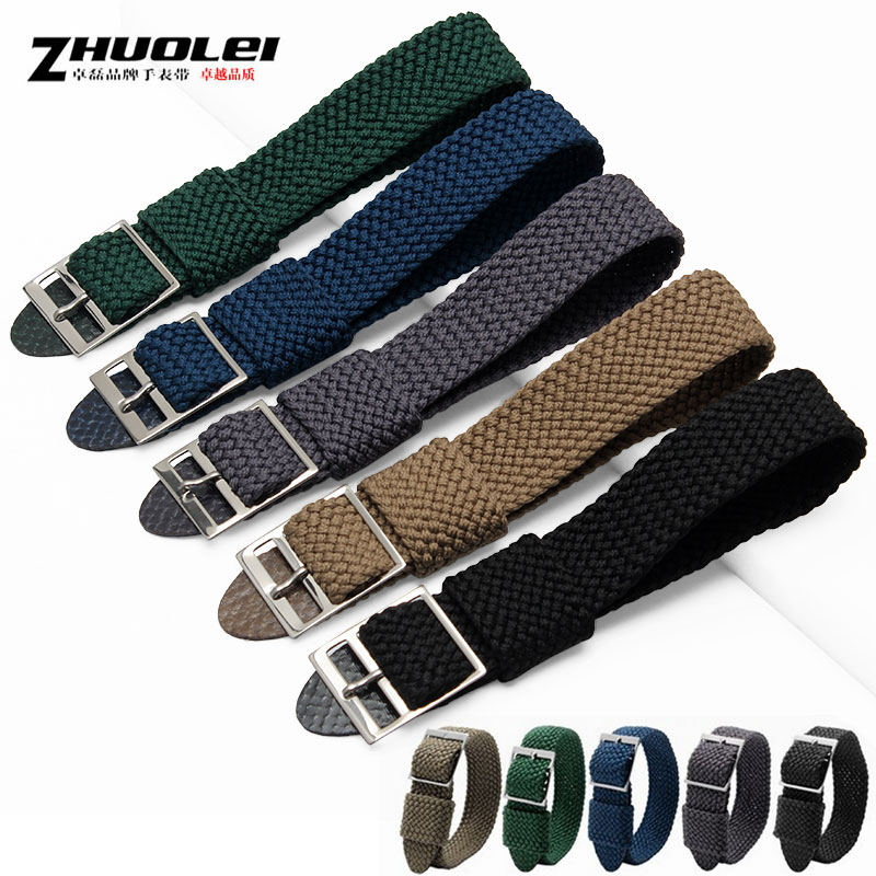 Zhuo lei leather strap watch with woven in belém nylon-6 20mmHQ adaptering omega rolex green water ghost male strap buckle