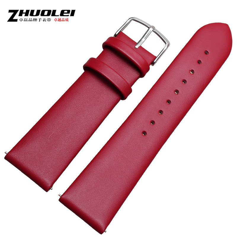 Zhuo lei leather watch band watch chain adaptering noon face 22mm black and red watch accessories watches