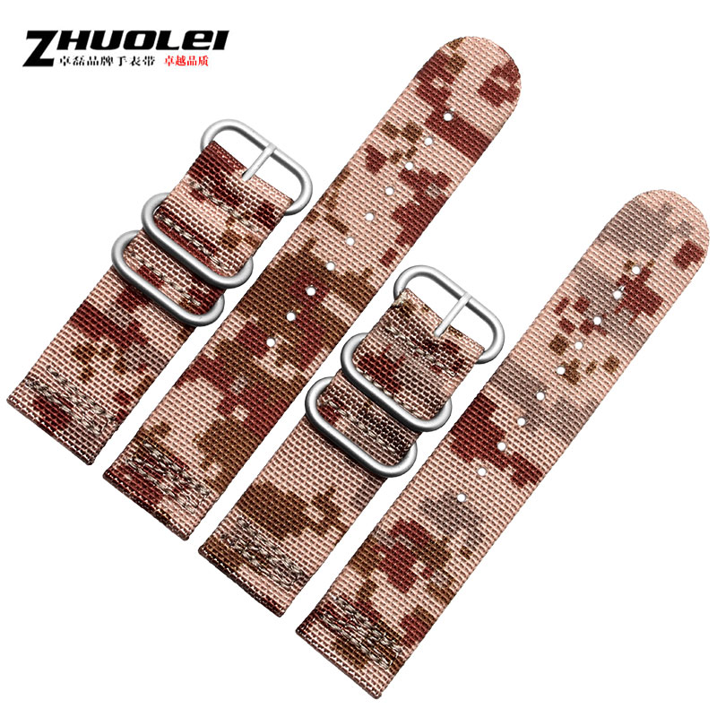 Zhuo lei nylon watch band waterproof and sweat models outdoor sports camouflage nylon nato strap bracelet 24mm