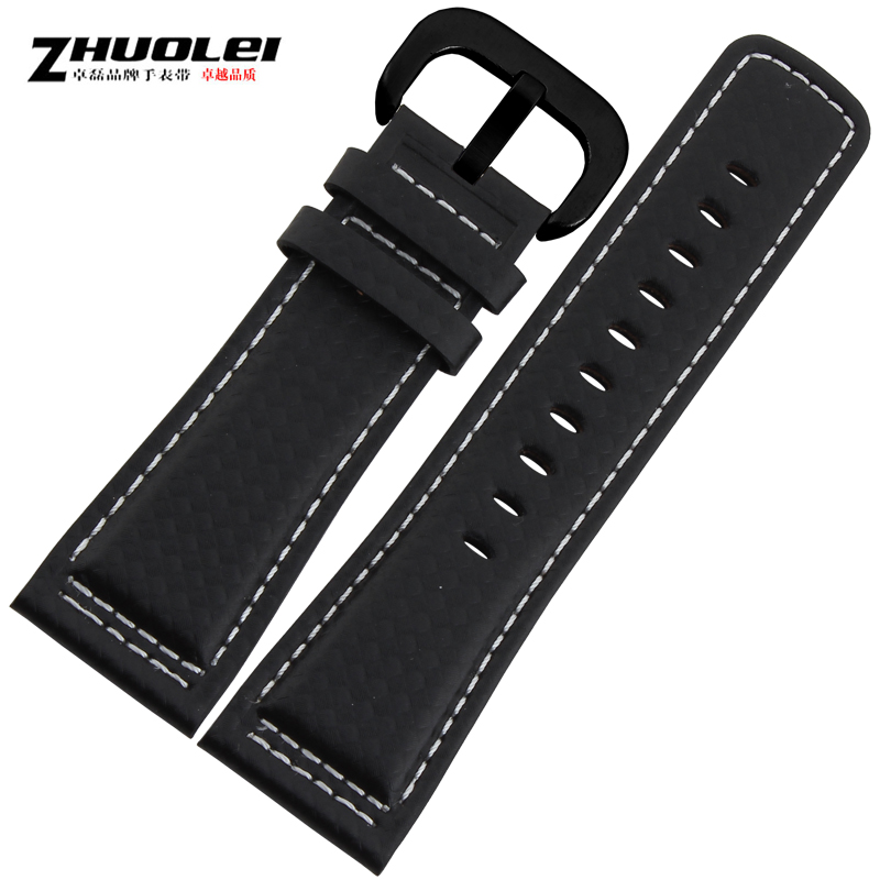 Zhuo lei watch accessories carbon fiber pattern friday adaptering m_1 p1 p2 leather strap watch band 28mm black