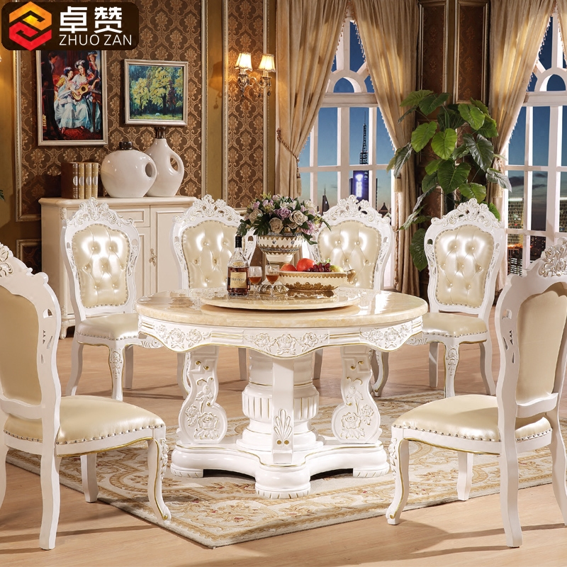 Zhuo like european natural marble dining table round oak dining table dinette combination of solid wood round table with turntable
