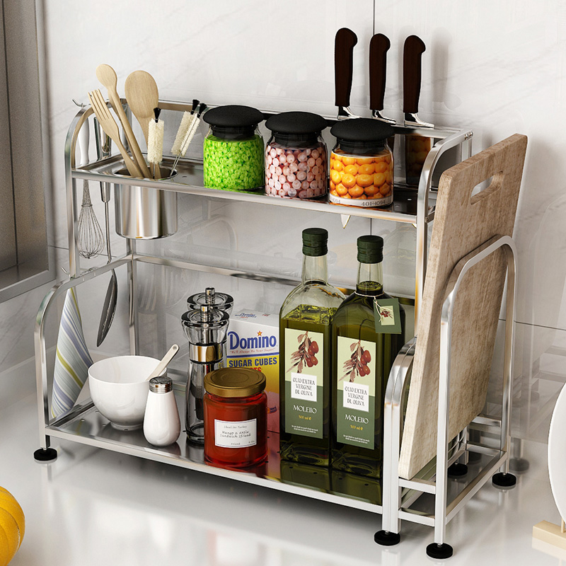 Get Quotations · Zhuo wo stainless steel kitchen shelving storage rack turret seasoning rack 2 layer wall floor kitchen