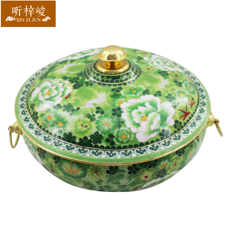 Zi xin cloisonn finishing 34CM four seasons of spring and thick pure copper copper pot charcoal fire boilers fashioned charcoal copper pot