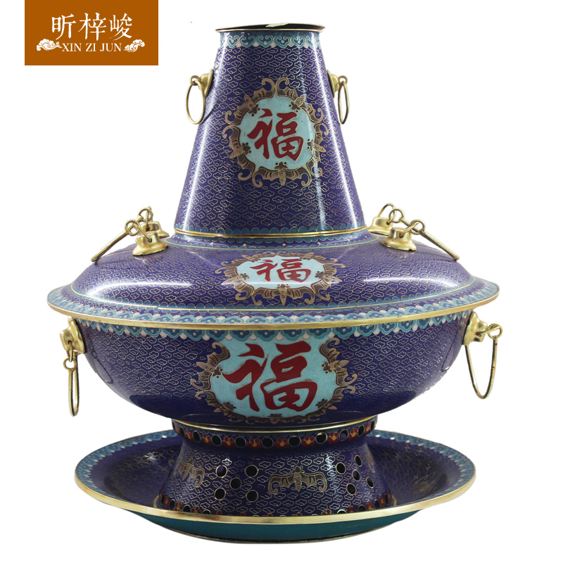 Zi xin cloisonn for completion of the word blessing special pot copper pot thick charcoal fire boilers household shabu hot pot