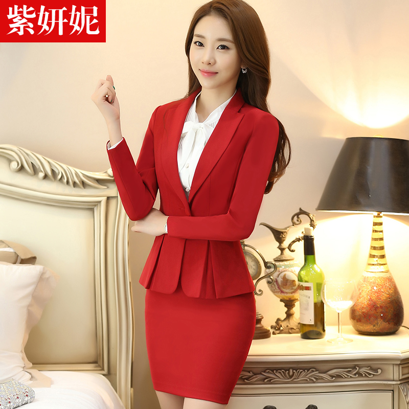 Zi yan ni 2016 autumn and winter wear women's suits ol temperament ladies long sleeve dress red overalls hotel