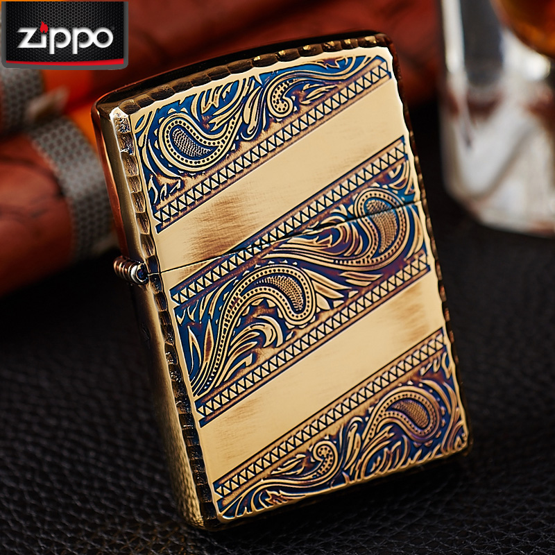 Zippo lighters genuine original authentic zippo windproof lighter rich flowers arabesque gold-plated zoppo