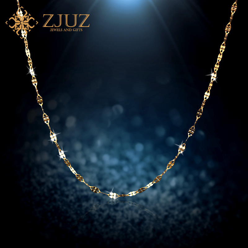ZJUZ18K gold necklace gold platinum rose gold color gold gold pendant in sterling silver clover clavicle chain necklace female gifts