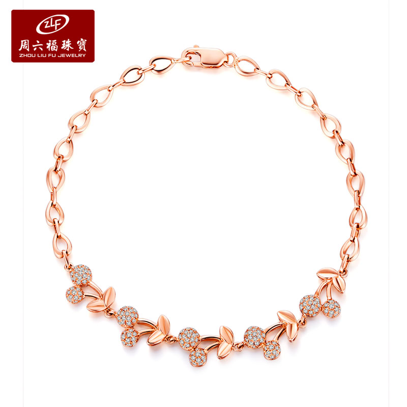Zlf/saturday fook jewellery 18k-color gold diamond bracelet bracelet ms. models cherry cherry taste series