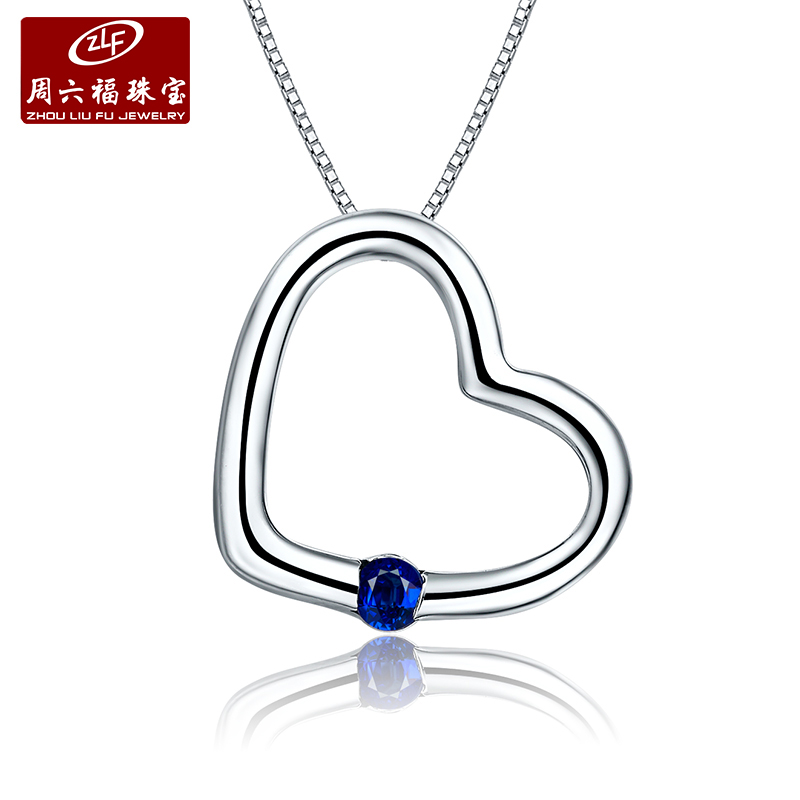 Zlf/saturday fook jewelry k gold sapphire pendant love heart pendant pre-2015