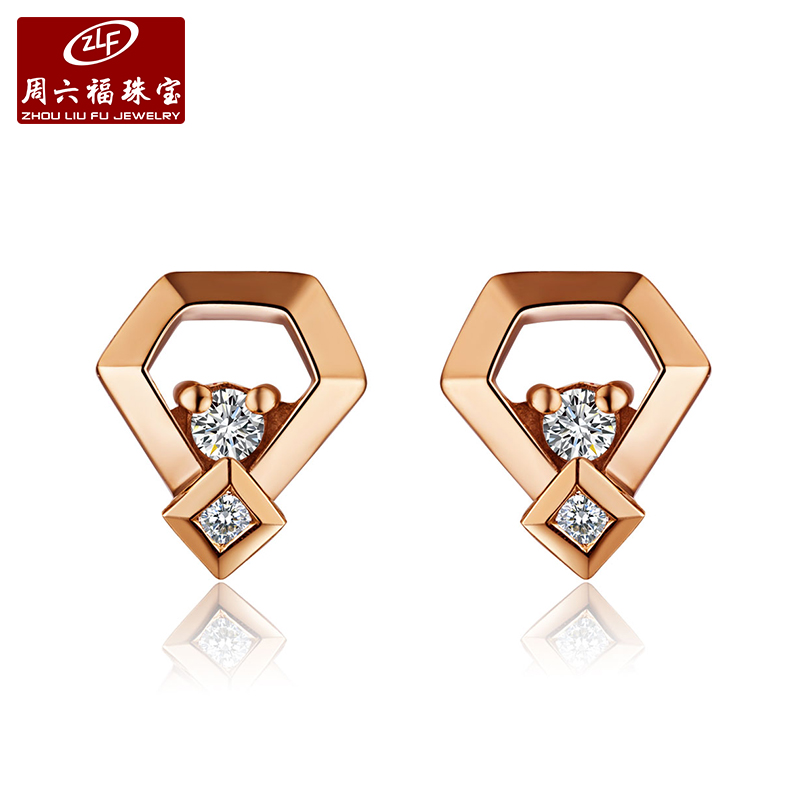 Zlf/saturday fook jewelry simple diamond k gold rose gold diamond stud earrings earrings earrings