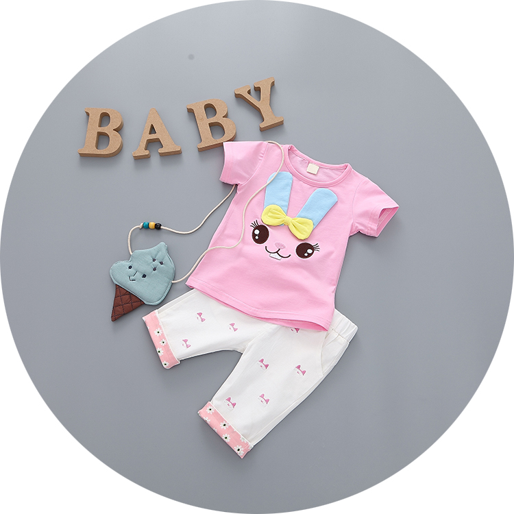 0-1-2-3-year-old female infant baby summer clothes summer and autumn baby out clothes short sleeve suit thin section