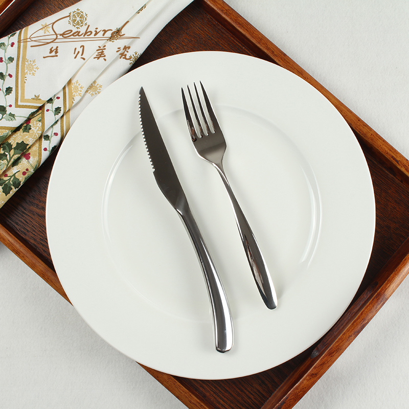 10.5 inch round white bone china dish steak dish western knife and fork moonbeams single paragraph romantic western cutlery sets