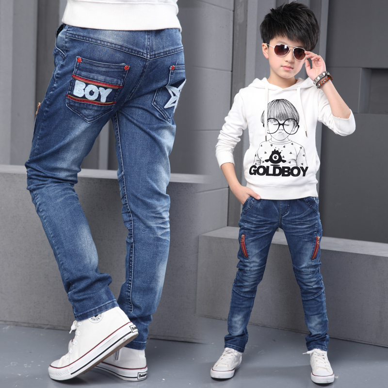 b6da287d Get Quotations · 10 children's clothing boys 2016 new men's jeans straight  denim trousers 11 children 12 years old