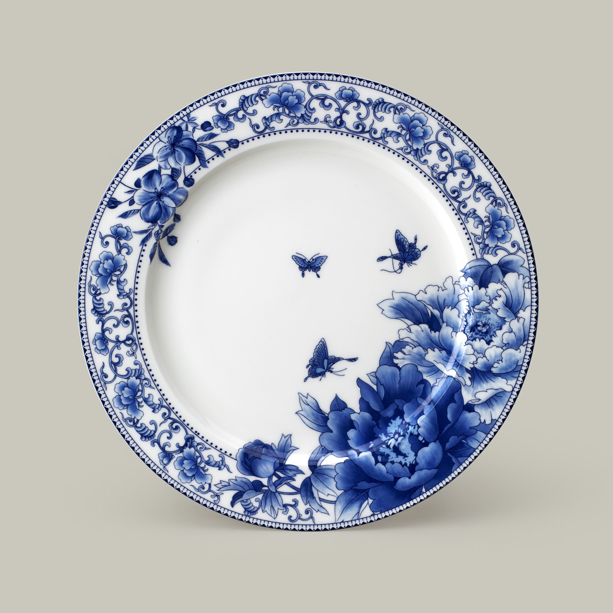 Get Quotations · 10 inch large blue and white glazed bone china plate steak plate flat plate western dish