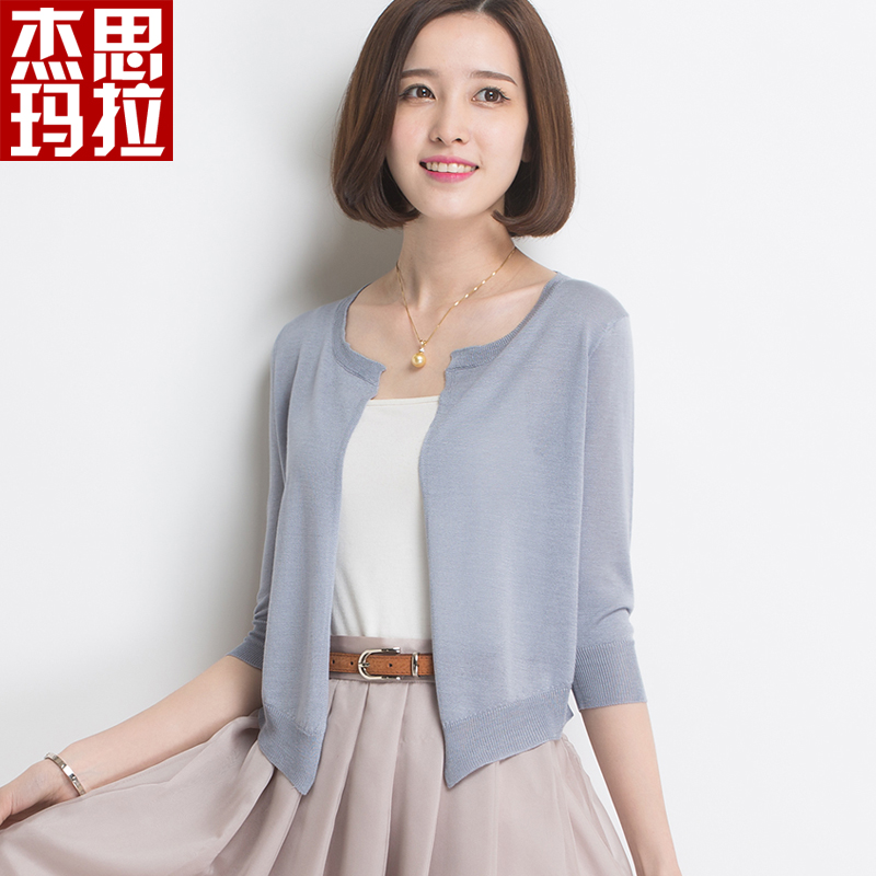 100% mulberry silk sunscreen air conditioning shirt short thin coat outside the ride small shawl knit cardigan female 2016 summer thin cardigan