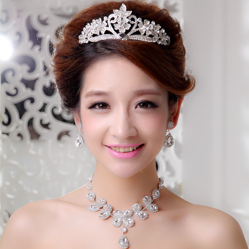 Bridal jewelry parure korean pearl necklace earrings wedding jewelry wedding crown tiara wedding accessories yarn
