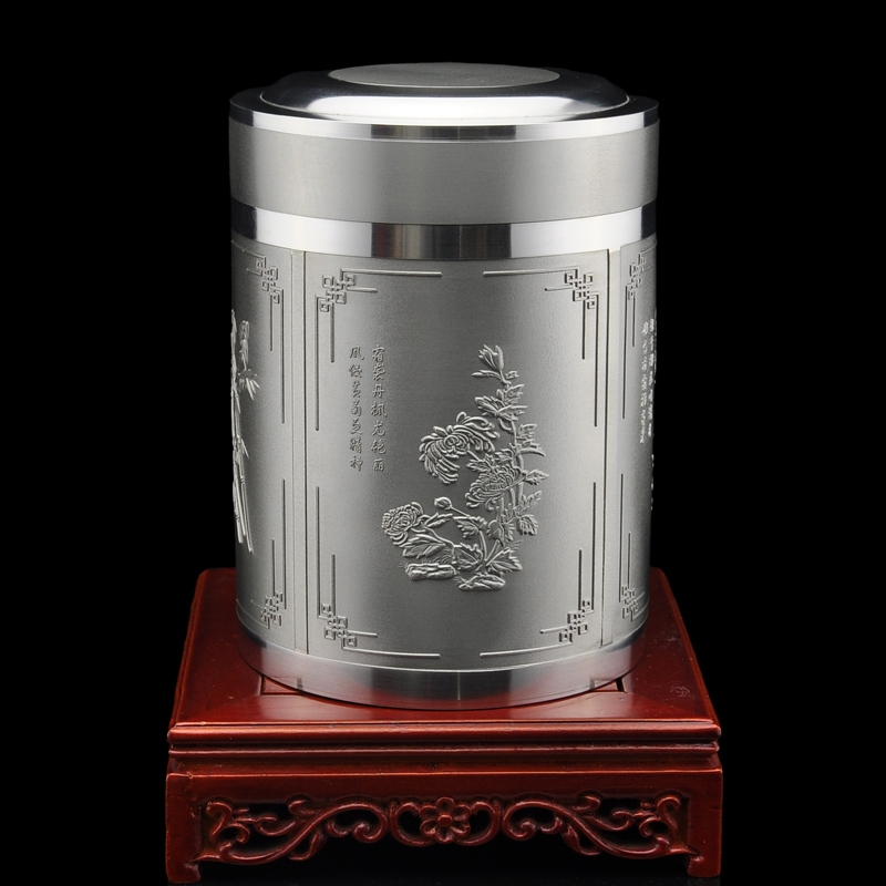 99.9% handmade monopoly tin-tin cans tin tea caddy medium chaguan pure tin products are old--four seasons general