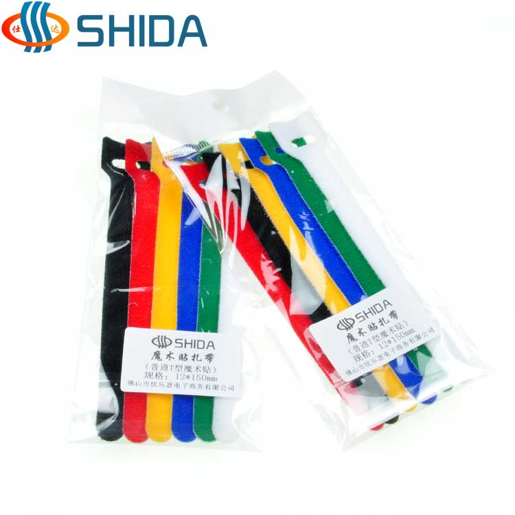 Shida t-shaped adhesive back to back velcro cable ties cable management tie line tie line with velcro cable ties 12 * 150