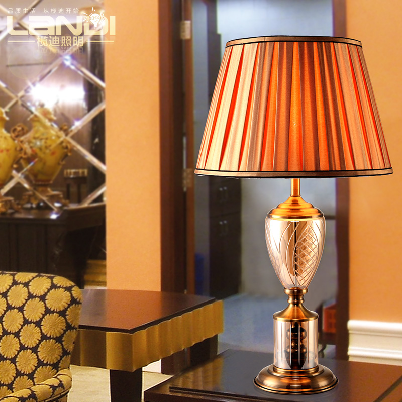 Lam di creative minimalist bedroom lamp bedside lamp european luxury crystal fixtures bronze special offer free shipping